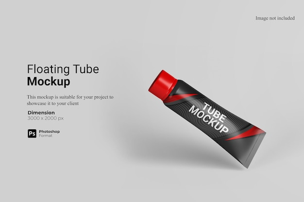 Renderização de projeto de mockup de tubo flutuante
