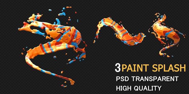 Renderização de respingos de tinta colorida isolada