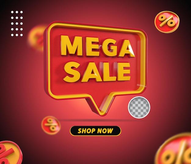 Renderização de texto de mega venda 3d