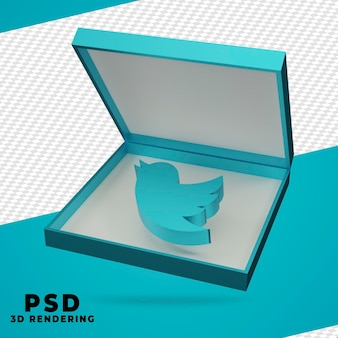 Renderização de twitter de caixa 3d isolada