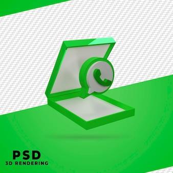 Renderização de whatsapp de caixa 3d isolada