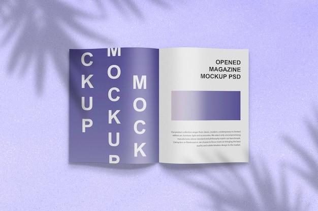 Renderização do design da maquete da vista superior da revista aberta