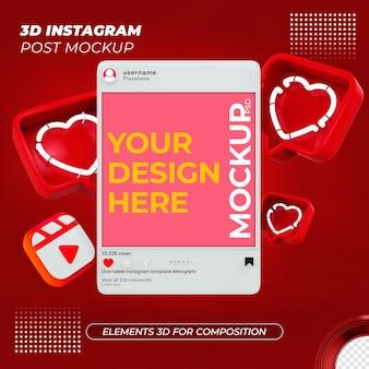 Renderização do design da maquete do post do instagram
