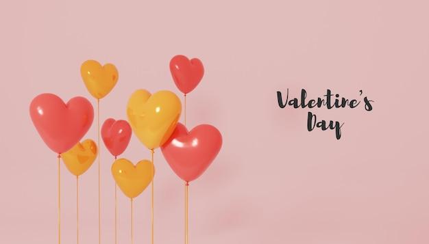 Renderização do dia dos namorados com balão de coração 3d