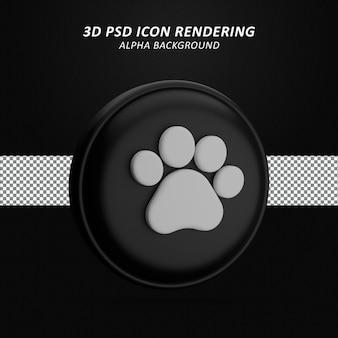 Renderização do ícone 3d da impressão da pata isolada