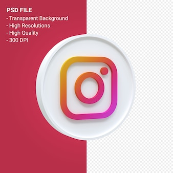 Renderização do ícone 3d do logotipo do instagram isolada