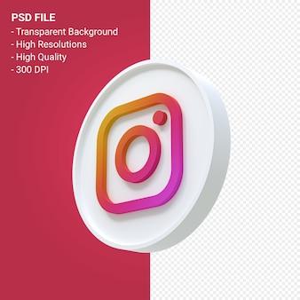 Renderização do ícone 3d do logotipo do instagram isolada