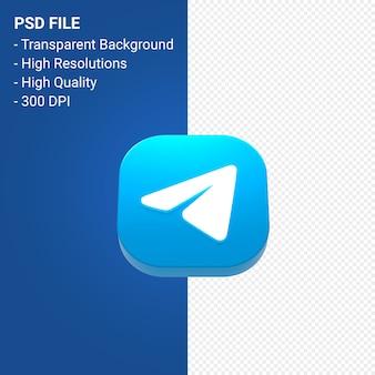 Renderização do ícone 3d do logotipo do telegram isolada