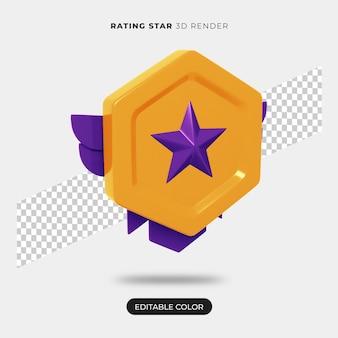 Renderização do ícone de estrela de classificação 3d isolada