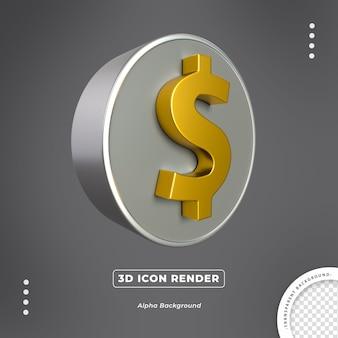 Renderização do ícone de moeda 3d isolada de ouro em dólar