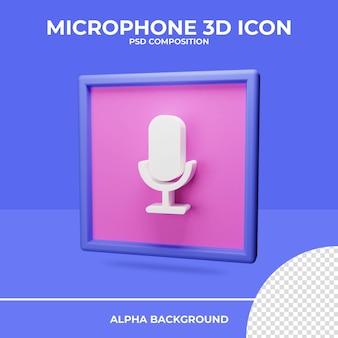Renderização do ícone de renderização 3d do microfone