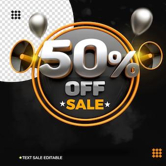 Renderização do logotipo 50% da venda isolada