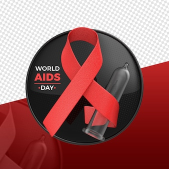 Renderização do logotipo em 3d do dia mundial da aids / sida
