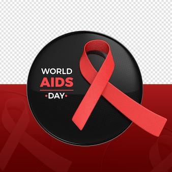 Renderização do logotipo em 3d do dia mundial da aids
