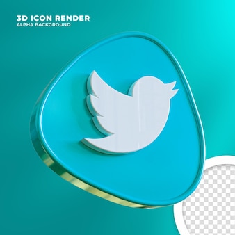 Renderização do twitter do ícone 3d