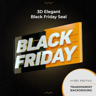 Renderização elegante 3d black friday seal