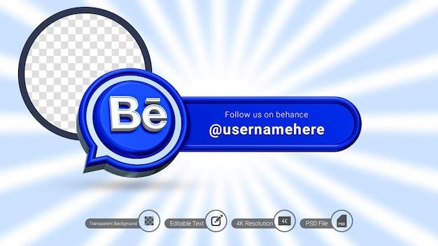 Renderização em 3d behance siga-nos rótulo isolado ícone de banner de mídia social premium psd
