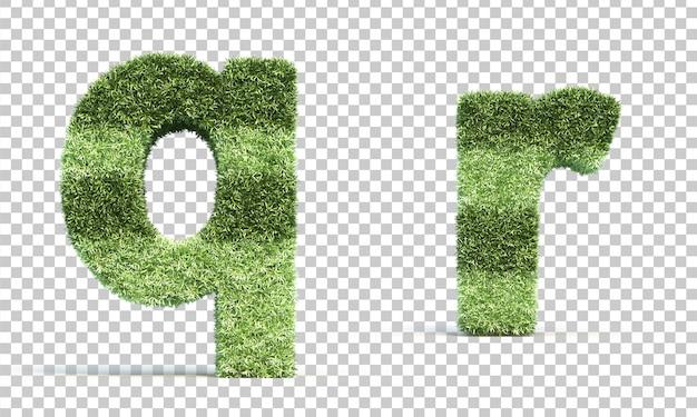 Renderização em 3d da grama jogando campo alfabeto q er alfabeto r
