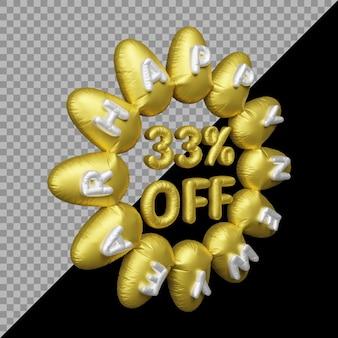 Renderização em 3d da oferta de ano novo com 33% de desconto em balão de ouro