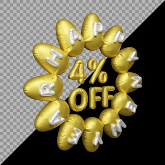 Renderização em 3d da oferta de ano novo com 4% de desconto em balão de ouro