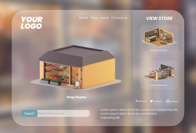 Renderização em 3d da página de destino do site da loja de calçados