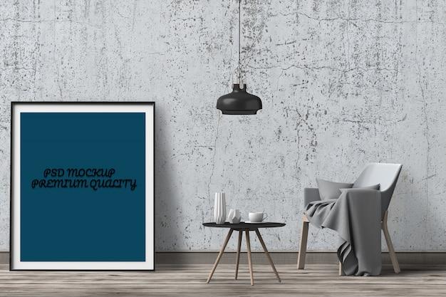 Renderização em 3d da sala de estar interior cartaz em branco de maquete