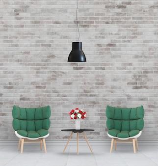 Renderização em 3d da sala de estar interior com poltrona