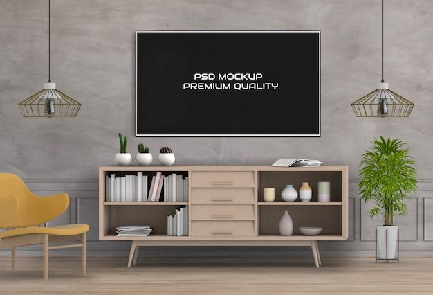 Renderização em 3d da sala de estar interior com smart tv