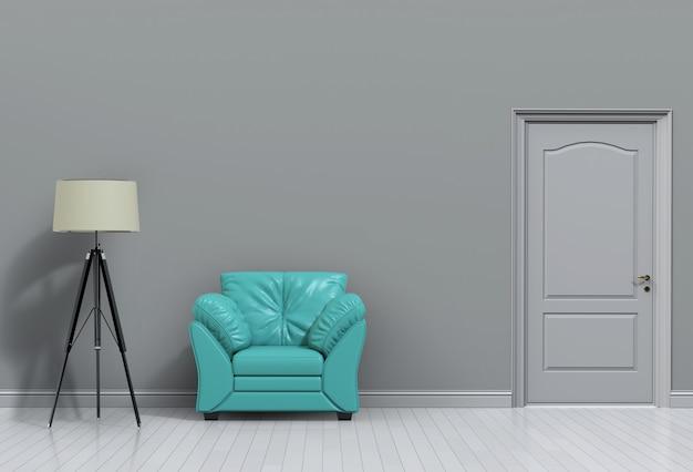 Renderização em 3d da sala interior com sofá e lâmpada