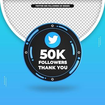 Renderização em 3d de 50 mil seguidores no design do twitter