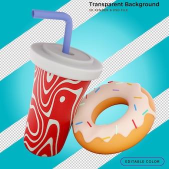 Renderização em 3d de donuts e coca