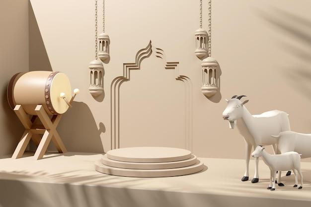 Renderização em 3d de fundo de pódio de decoração de exibição islâmica com lanterna de cabra de percussão