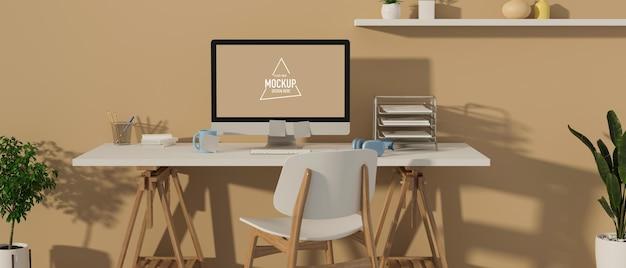 Renderização em 3d de mesa de escritório mínima com maquete de computador