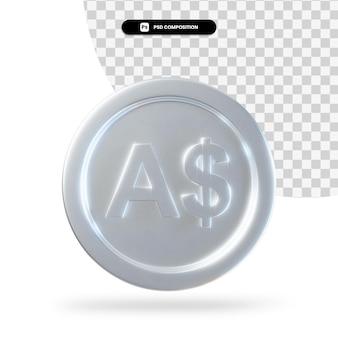 Renderização em 3d de moeda de dólar australiano de prata isolada