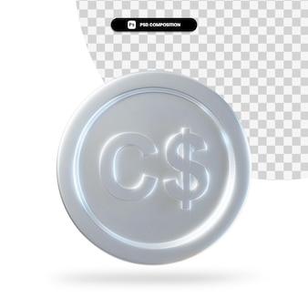 Renderização em 3d de moeda de dólar canadense de prata isolada