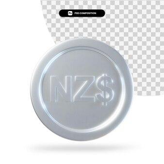 Renderização em 3d de moeda de dólar de prata da nova zelândia isolada
