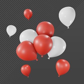 Renderização em 3d de muitos balões coloridos e brancos únicos e agrupados a partir da vista em perspectiva