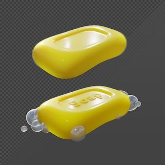 Renderização em 3d de sabonete em barra amarelo limpo com e sem ângulo de visão em perspectiva de bolha de espuma