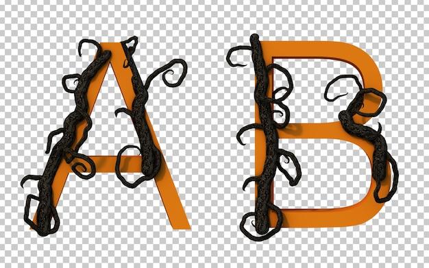 Renderização em 3d de um galho assustador rastejando no alfabeto a e no alfabeto b