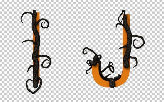 Renderização em 3d de um galho assustador rastejando no alfabeto i e no alfabeto j
