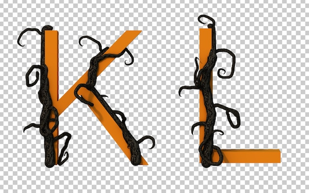 Renderização em 3d de um galho assustador rastejando no alfabeto k e no alfabeto l