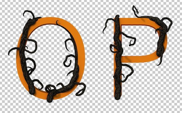 Renderização em 3d de um galho assustador rastejando no alfabeto o e no alfabeto p
