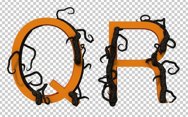 Renderização em 3d de um galho assustador rastejando no alfabeto q e no alfabeto r