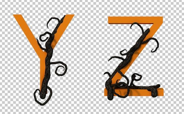 Renderização em 3d de um galho assustador rastejando no alfabeto y e no alfabeto z
