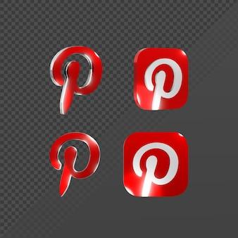 Renderização em 3d de um ícone brilhante do logotipo do pinterest de várias perspectivas
