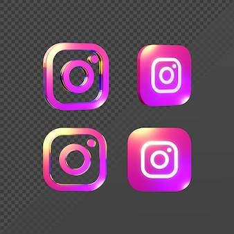 Renderização em 3d de um logotipo brilhante de ícone do instagram de várias perspectivas