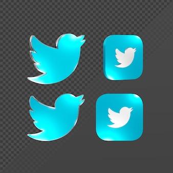 Renderização em 3d de um logotipo brilhante de ícone do twitter de várias perspectivas