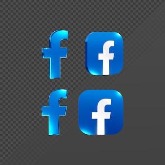 Renderização em 3d de um logotipo de ícone brilhante do facebook de várias perspectivas