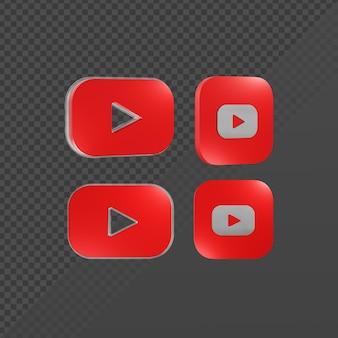 Renderização em 3d de um logotipo de ícone brilhante do youtube de várias perspectivas