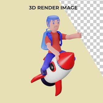 Renderização em 3d de um personagem pilotando um foguete com o conceito de volta às aulas